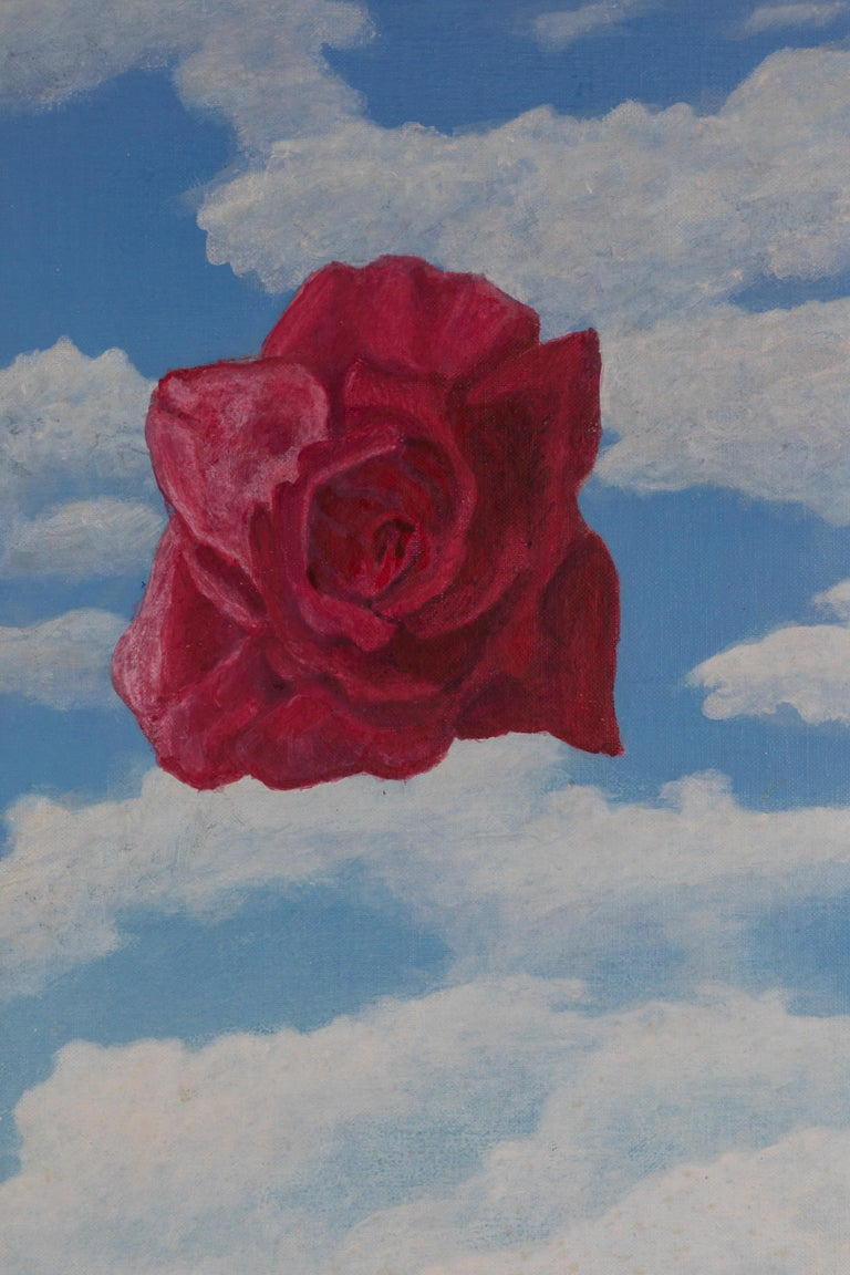 Colorful and interesting painting, acrylic on canvas, signed Hunter and dated 1979. A deep pink rose and bright blue sky float above a gray blue sea. Original frame in a Classic style.  Painting without frame 11.5 x 23.5.