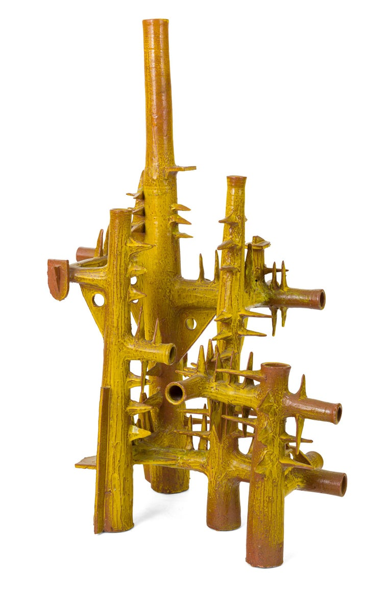 Surrealist Yellow Glazed Terracotta Sculpture by Architect, France, 1970s In Good Condition For Sale In New York, NY