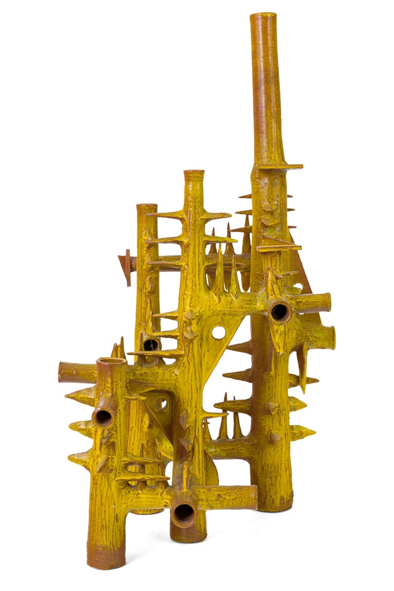Late 20th Century Surrealist Yellow Glazed Terracotta Sculpture by Architect, France, 1970s For Sale