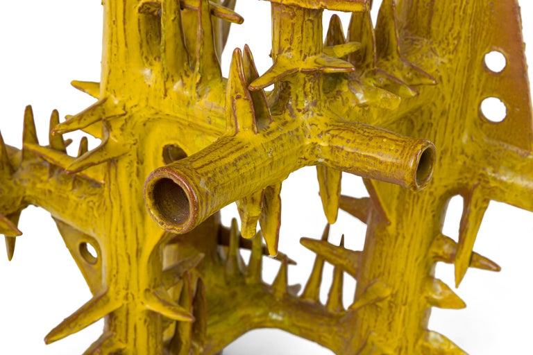Surrealist Yellow Glazed Terracotta Sculpture by Architect, France, 1970s For Sale 3