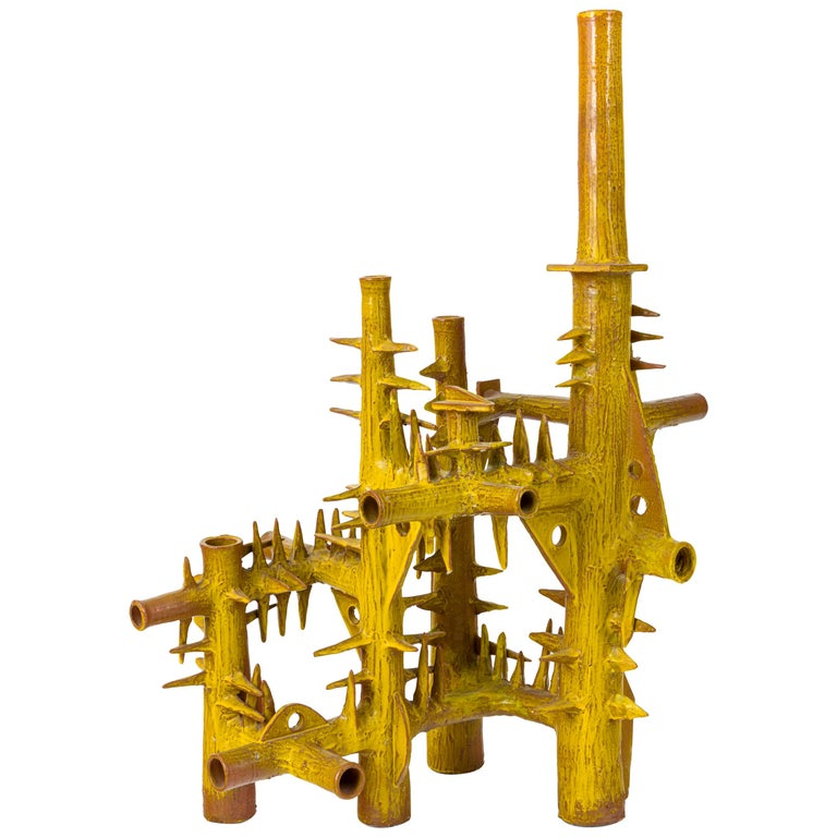 Surrealist Yellow Glazed Terracotta Sculpture by Architect, France, 1970s For Sale