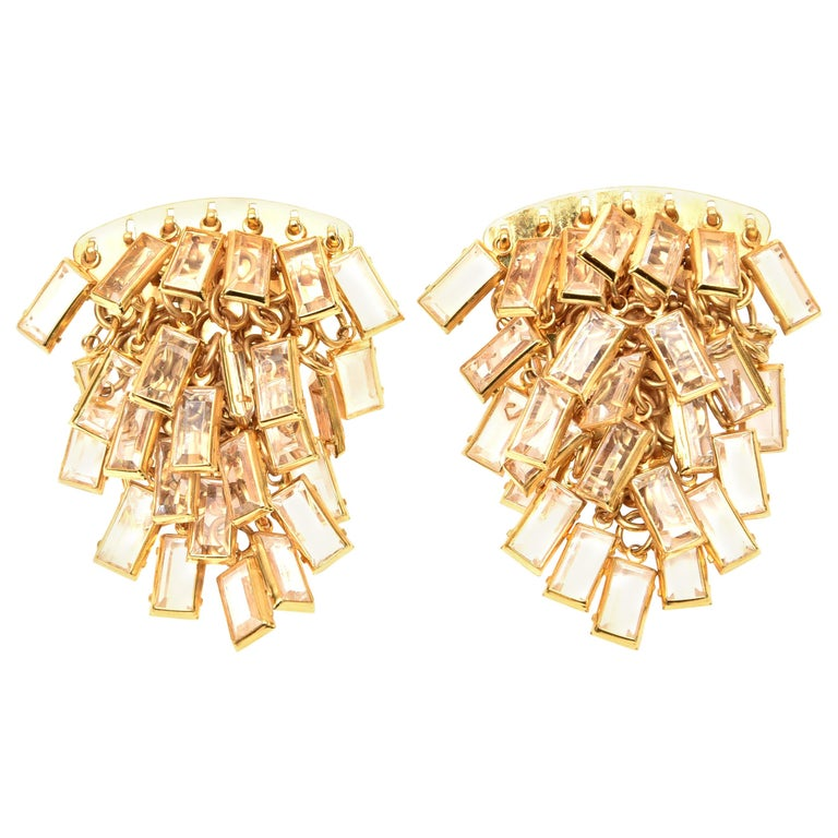 Surrell Cascading Glass Sculptural Earrings Italian Vintage For Sale