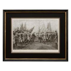 """Surrender of Cornwallis at Yorktown"" First Edition Antique Engraving, 1870"