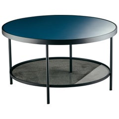 Surround Me Coffee Table in Blue Glazed Glass Top and Matte Black Metal