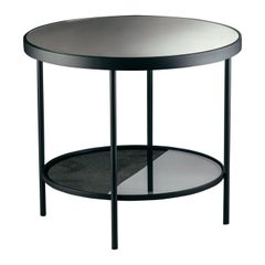 Surround Me Coffee Table in Mirror Top and Matte Black Metal
