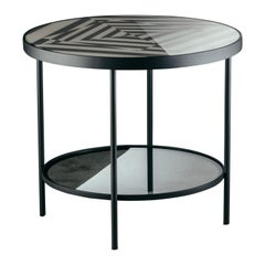 Surround Me Coffee Table in Optical Glass and Matte Black Metal