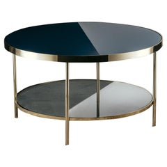 Surround Me Low Coffee Table Polished Brass Glass Top