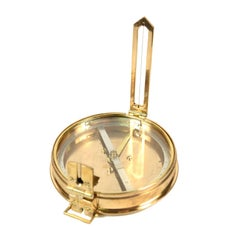 Survey Compass, Brass with Leather Case, Signed Troughton & Simms Ltd