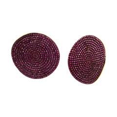 Sūrya Sun Disc Earrings in Silver with Rubies