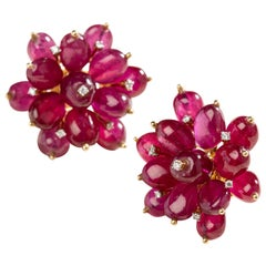 Sūrya Sun Flower Earrings II in 14 Karat Gold with Rubies and Diamonds