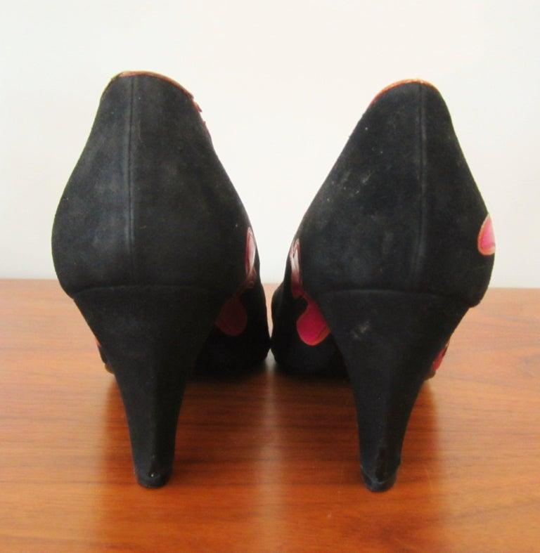 Susan Bennis Warren Edwards POP POWER Leather Suede Pump Shoes Pop Art  For Sale 1