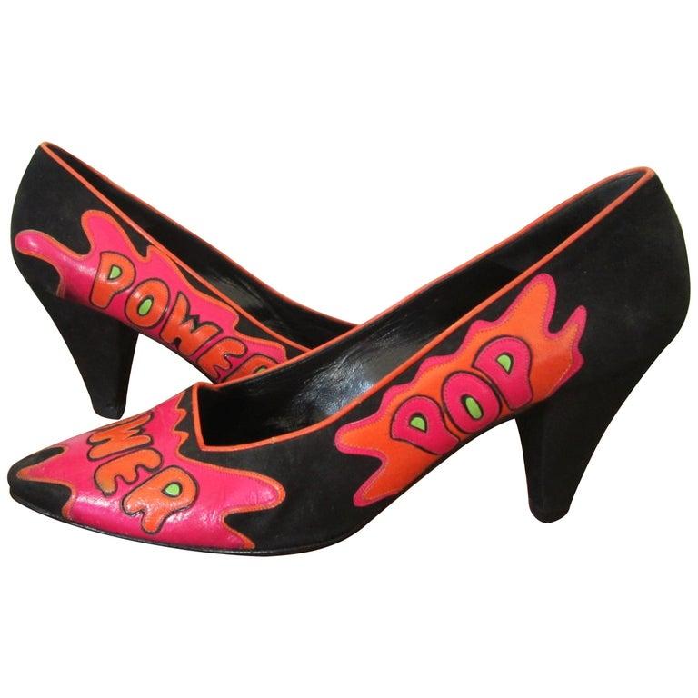 Susan Bennis Warren Edwards POP POWER Leather Suede Pump Shoes Pop Art  For Sale