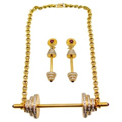 Susan Berman 18 Karat Gold Diamond Barbell Suite