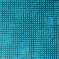 Turquoise and Bronze. Contemporary Abstract Oil Painting