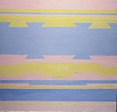Untitled Yellow Blue and Pink.  Contemporary Abstract Oil Painting