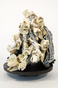 Elysium - hand sculpted, cream, coral, dynamic, earthenware, clay sculpture
