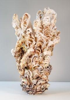 Laurel Pair 1 - hand sculpted, cream, coral, dynamic, earthenware, ceramic