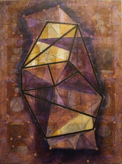 BOOK OF KNOWLEDGE (Purple & Yellow - Abstract,  Geometric, Encaustic)
