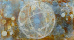 INTERNAL GALAXY (Blue, Orange & White - Abstract, Geometric, Encaustic)
