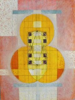 Mexican Tango (Pink, Yellow, Blue & Orange, Abstract, Geometric, Encaustic)