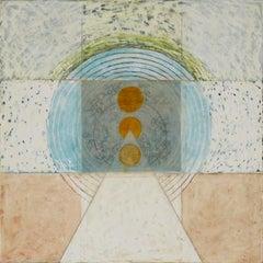 SULHELM (Blue, Green, Orange - Abstract, Encaustic)