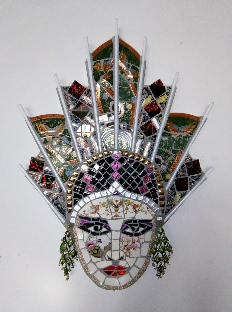 Paloma , Recycled ceramic mosaic by English Artist Susan Elliott - Sculpture by Susan Elliott