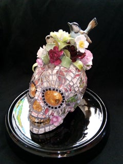 Skull of a May Queen, Recycled ceramic Sculpture, English Artist Susan Elliott