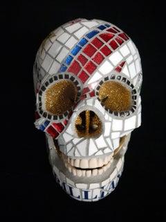 Starman - Davis Bowie, Ceramic skull by Susan Elliott