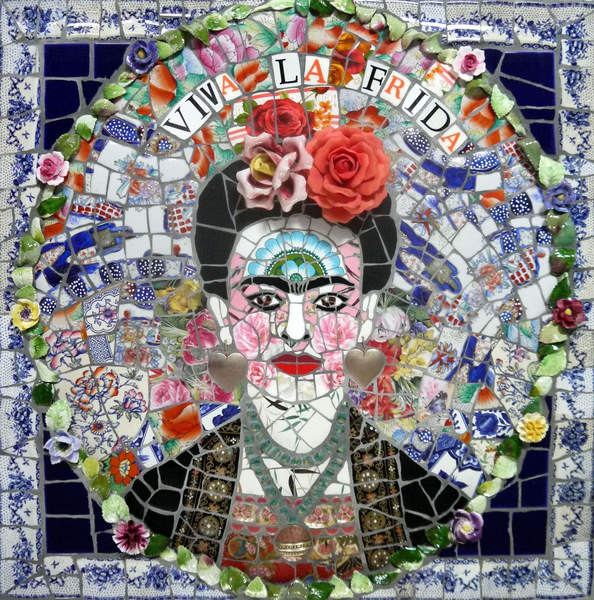 Viva La Frida , Recycled ceramic mosaic by English Artist Susan Elliott