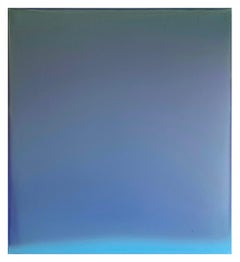Overcast Blue, Abstract Tinted Polymer Painting in Blue-gray, Aqua Blue, Indigo