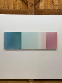 Secret No Two, Horizontal Glossy Painting in Dark Teal, Light Green, Rose Pink