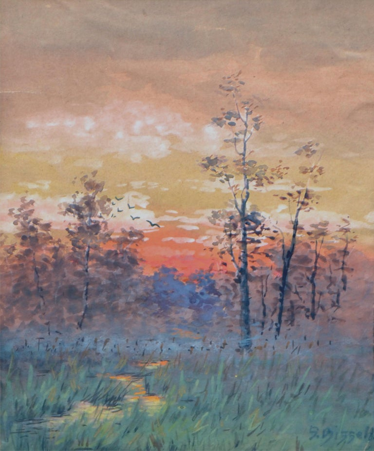 Late 19th Century Berkshire Sunrise Landscape  - American Impressionist Painting by Susan Field Bissell