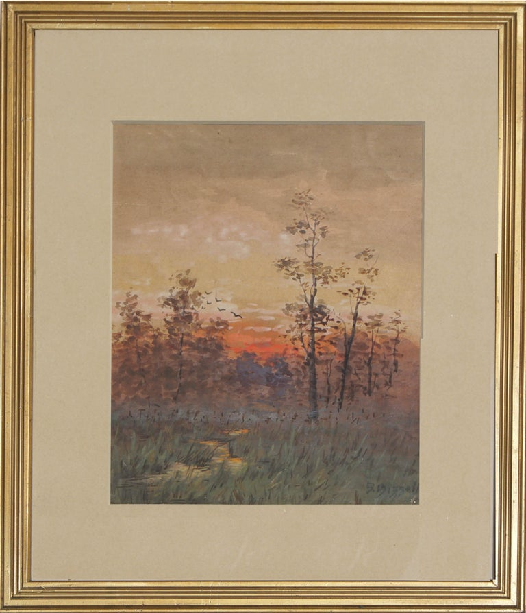 Gorgeous Berkshire sunrise by Susan Field Bissell (American, 1860-1920). Presented in a giltwood frame. Signed