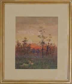 Berkshire Sunrise Landscape Watercolor 1898