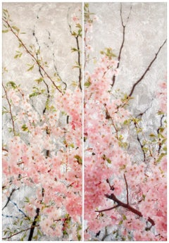 Cherry Reverie, Mixed Media, Resin, Contemporary Realism, Nature, Pink