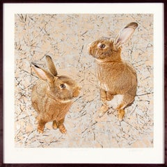 Crazy All the Time, Mixed Media Contemporary, Rabbits, Bunnies, Abstract