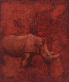 BENEDICTION - red painting of animal (rhinoceros) with geometric floral pattern