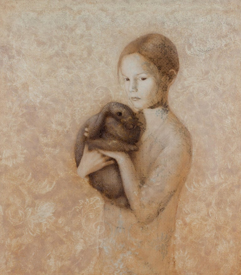 Susan Hall Animal Painting - COMPANION - contemporary painting of girl with rabbit or bunny on floral pattern