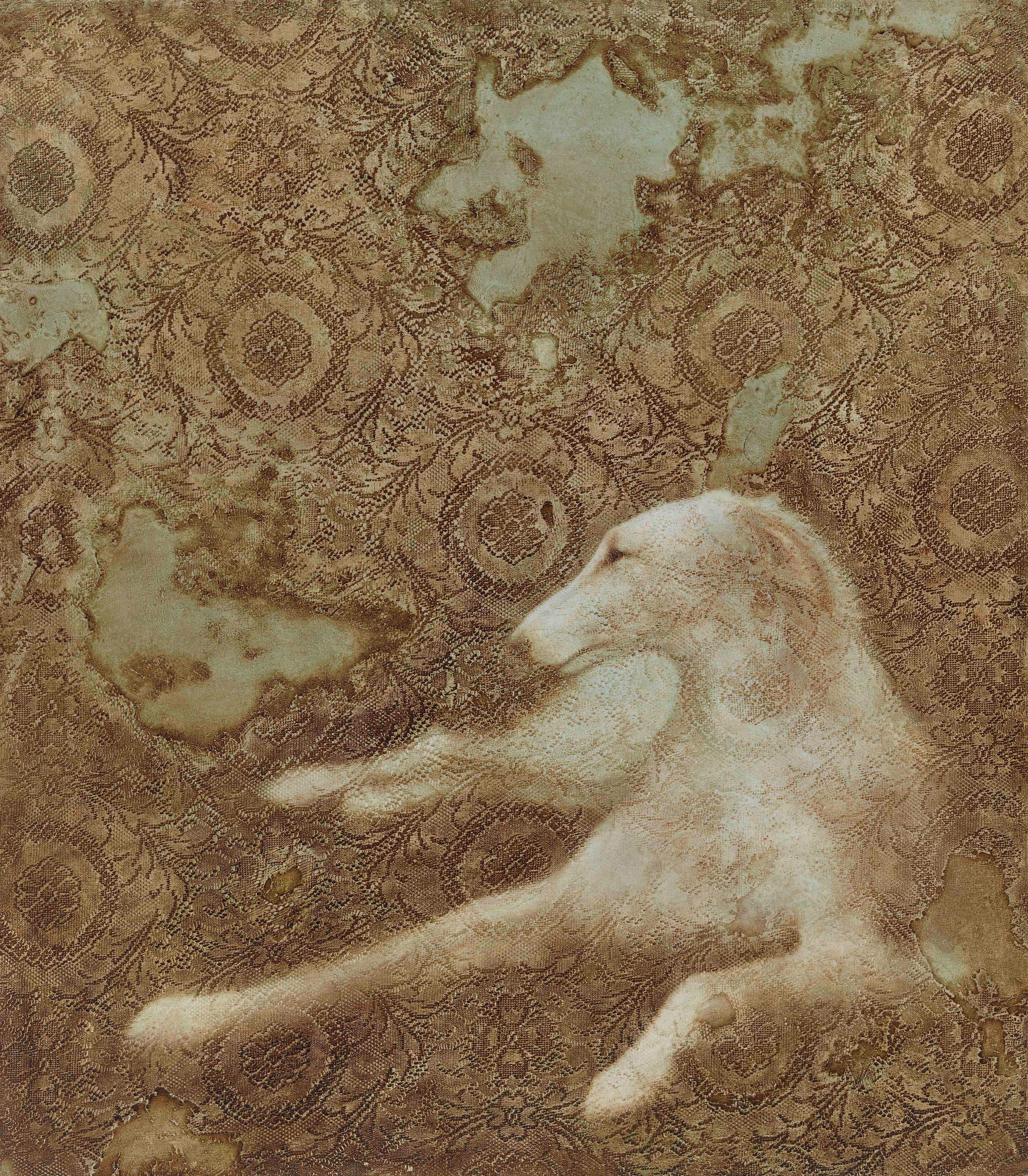 DEVOTION - naturalistic or realistic painting of dog with floral pattern