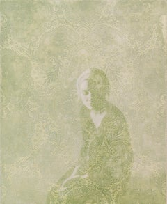 MEDITATION - light green painting of young woman with floral pattern