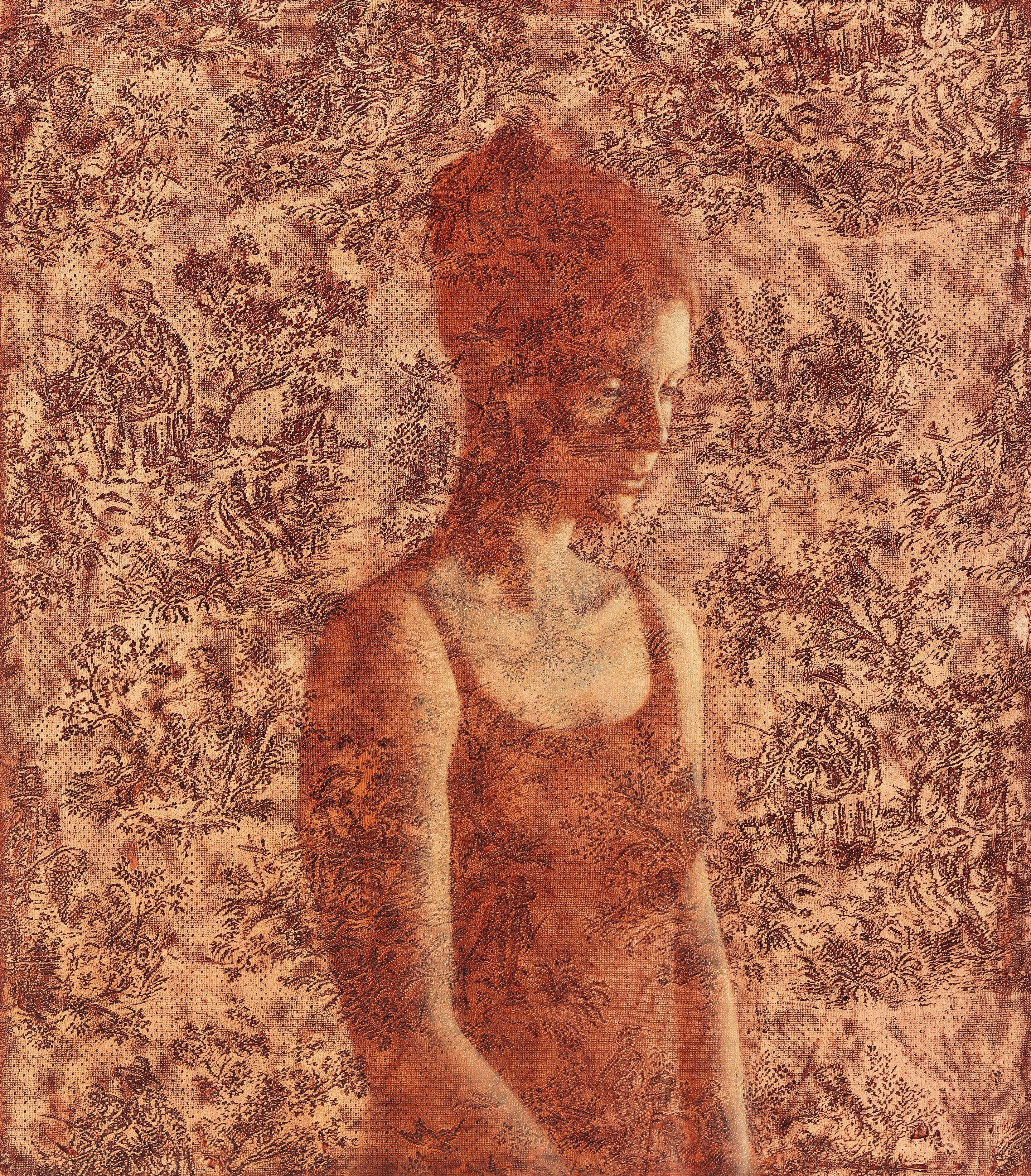 REMINISCENCE - contemporary contemplative painting of young woman with floral
