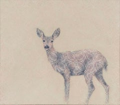 REVERIE - nature painting of animal (deer) with geometric floral pattern