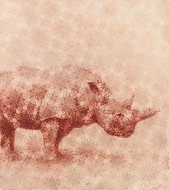 SAVANNAH - rose nature painting of rhinoceros with geometric floral pattern