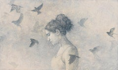 THRESHOLD - gray painting of young woman with bird with nature pattern