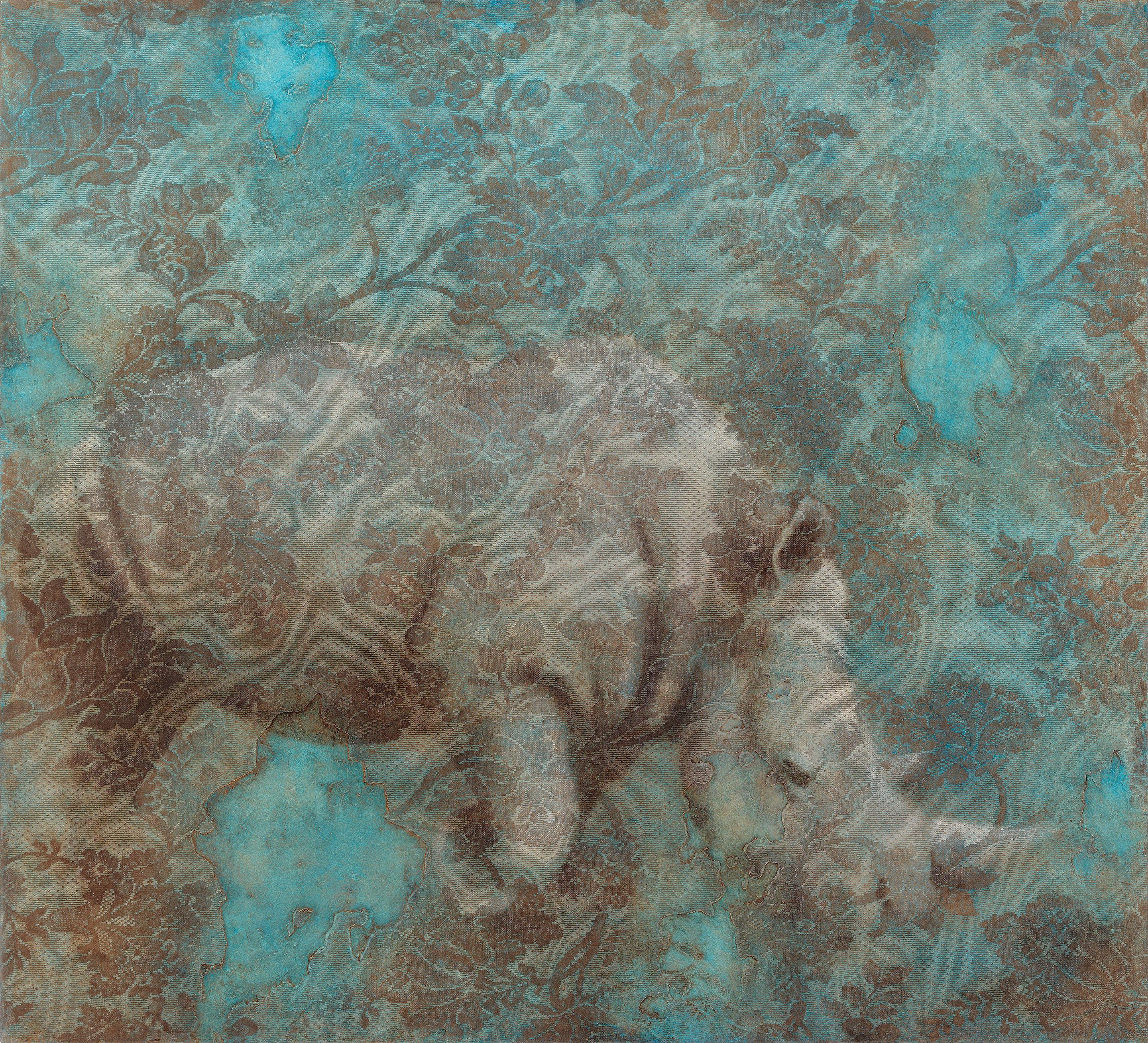 TRANSFORMATION - light blue painting of animal (rhinoceros) with floral pattern