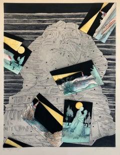 Night Light,  Signed Aquatint Etching California Modernist Woman Artist