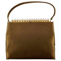 Susan Handbags London Bronze Satin Handbag with Aurora Borealis Beads