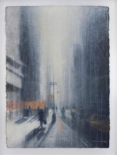 5th St. Hustle (Abstracted Figurative Watercolor Drawing of New York City)