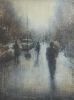 68th Street II (Abstracted Figurative Watercolor Painting of Walking Figures)