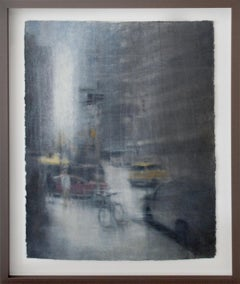 Bicycle at 77th St. (Abstracted Figurative Watercolor Drawing of New York City)